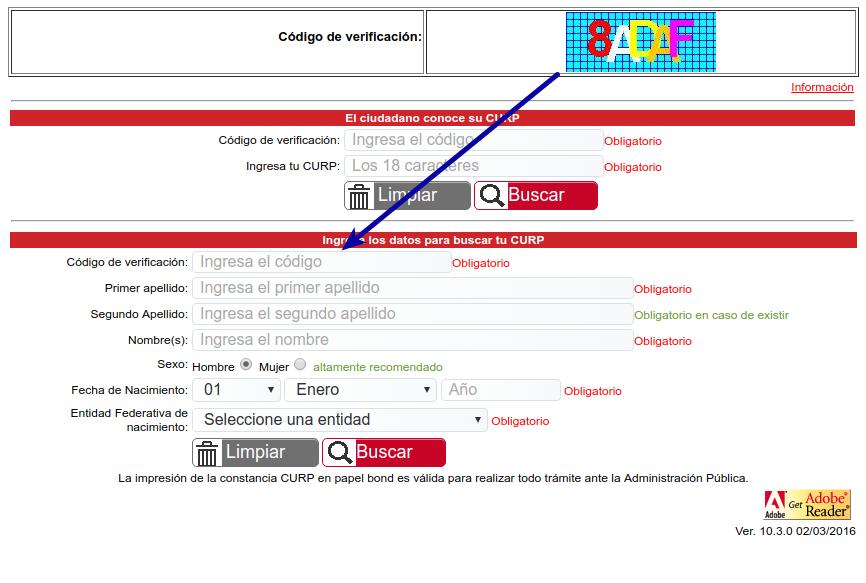 Código de verificación - CURP no se encuentra en la base de datos