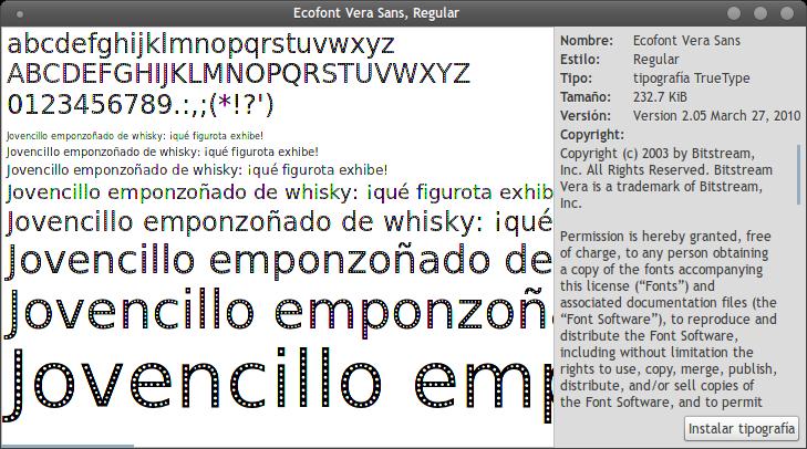 La tipografía Ecofont