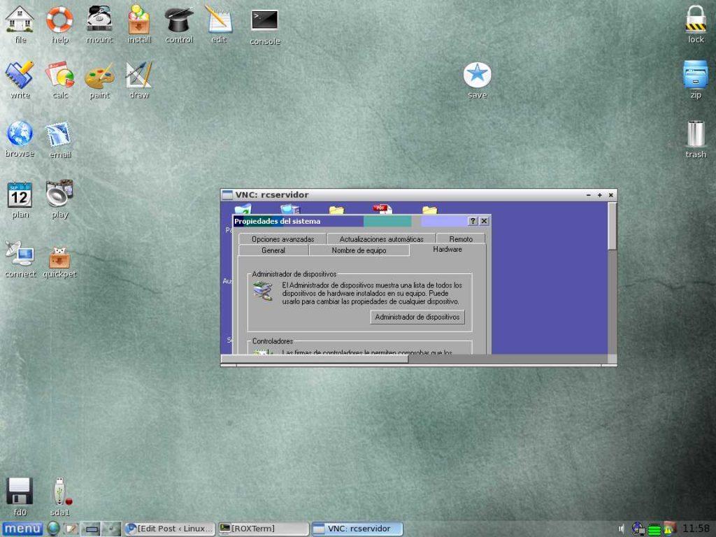 Puppy Linux ejecutando vncviewer
