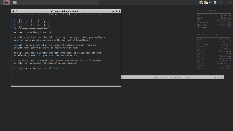 crunchbang linux inicio