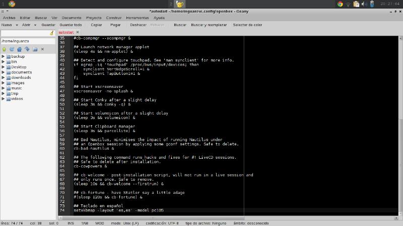 configuración del teclado en crunchbang