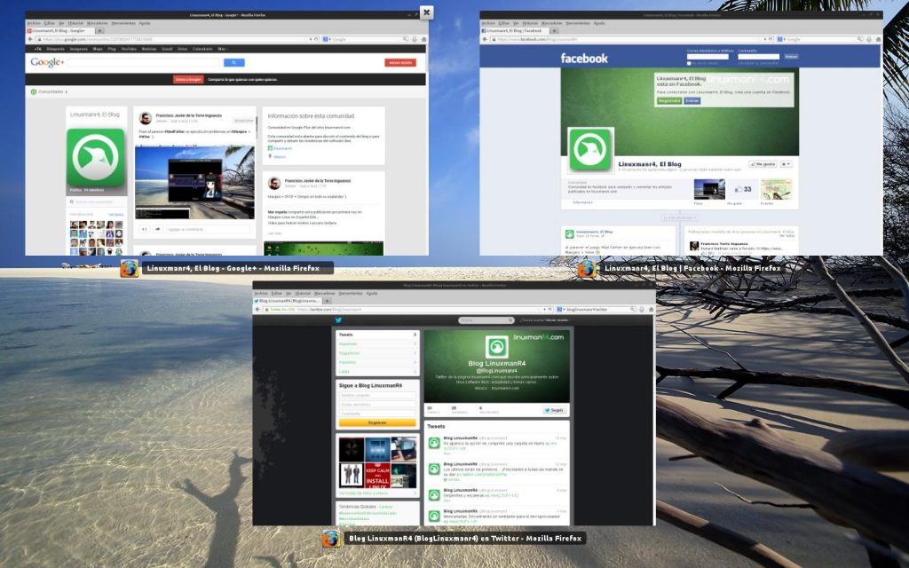 Twitter, facebook y Google Plus