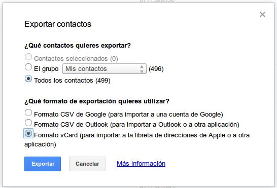 Exportar contactos de Gmail a vCard