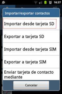 Importar desde tarjeta SD - Contactos Android