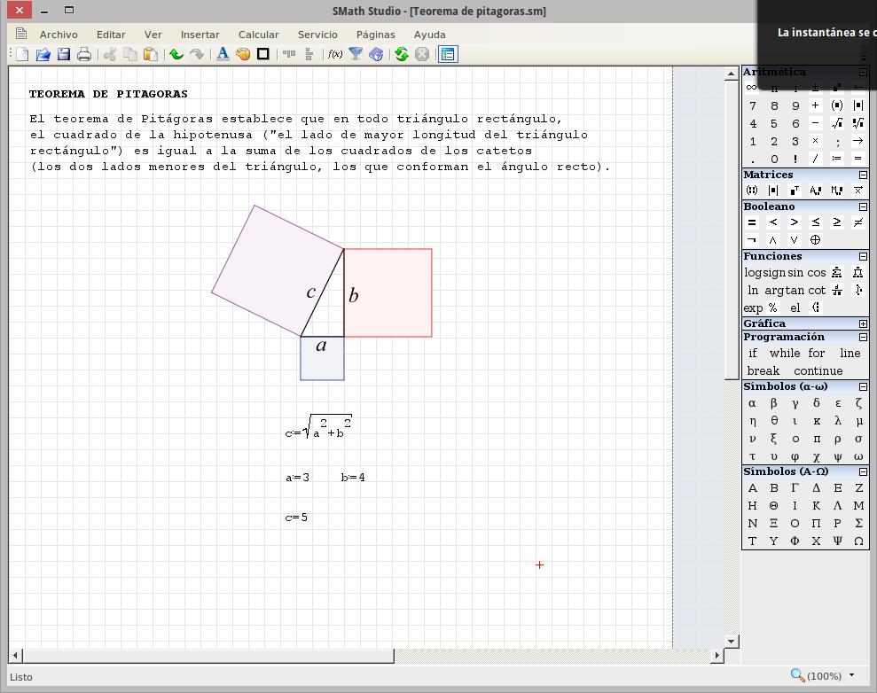 SMath Studio - Teorema de pitagoras