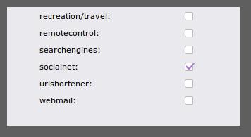 categoría socialnet en URL Filter