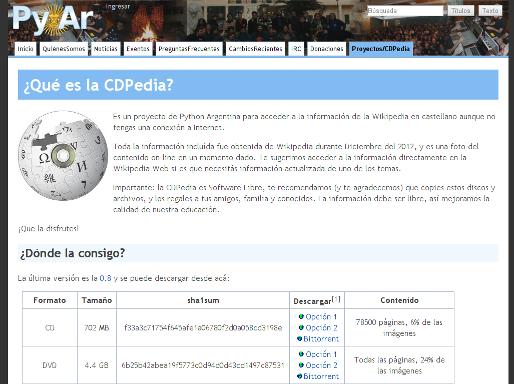Página del proyecto CDPedia.