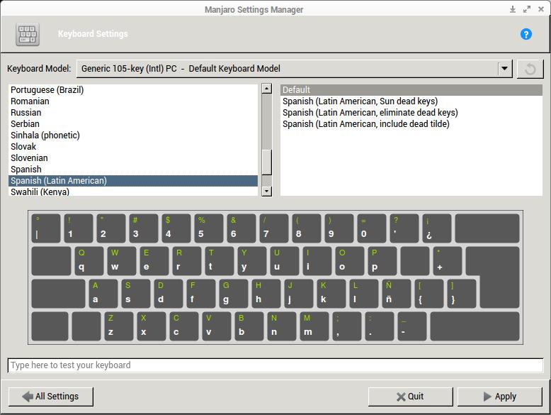 Manjaro Settings Manager, Configuración del teclado.