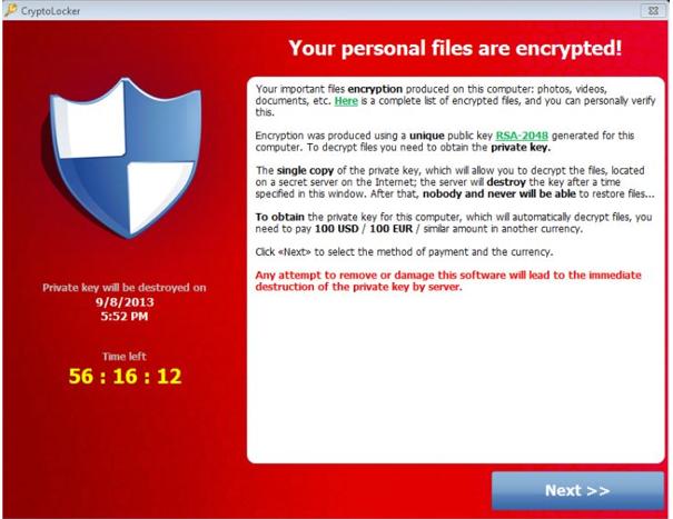 El virus cryptolocker pidiendo el rescate.