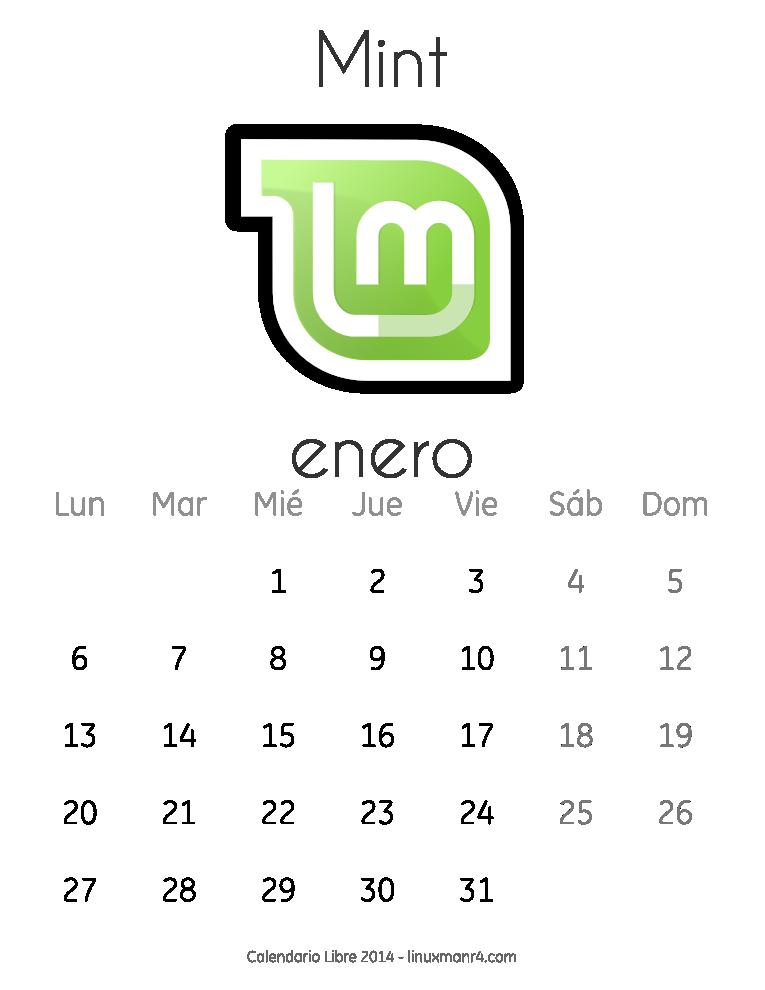Calendario Libre 2014 Enero Mint