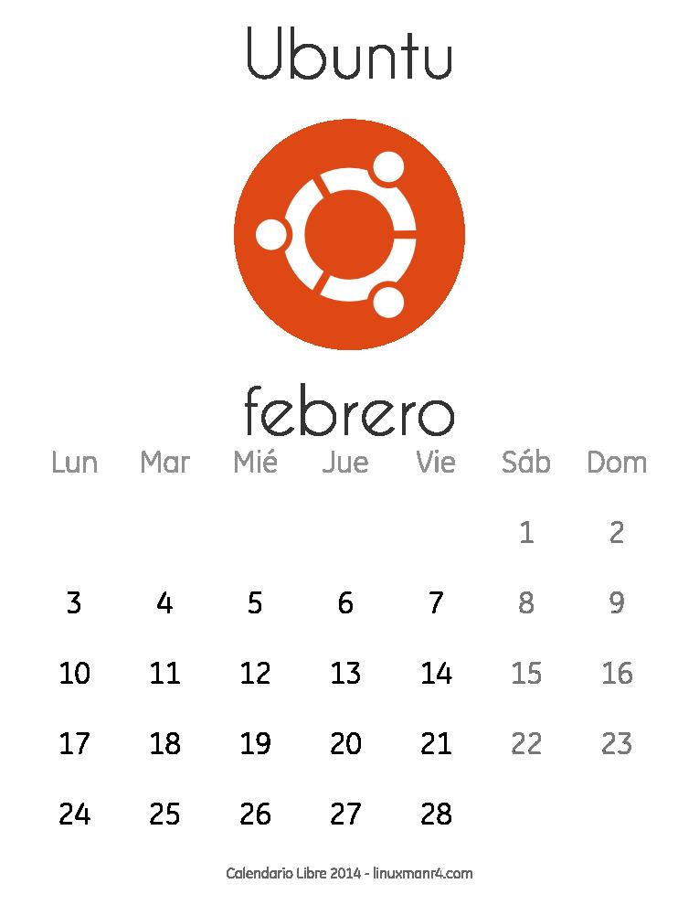 Calendario Libre 2014 Febrero Ubuntu