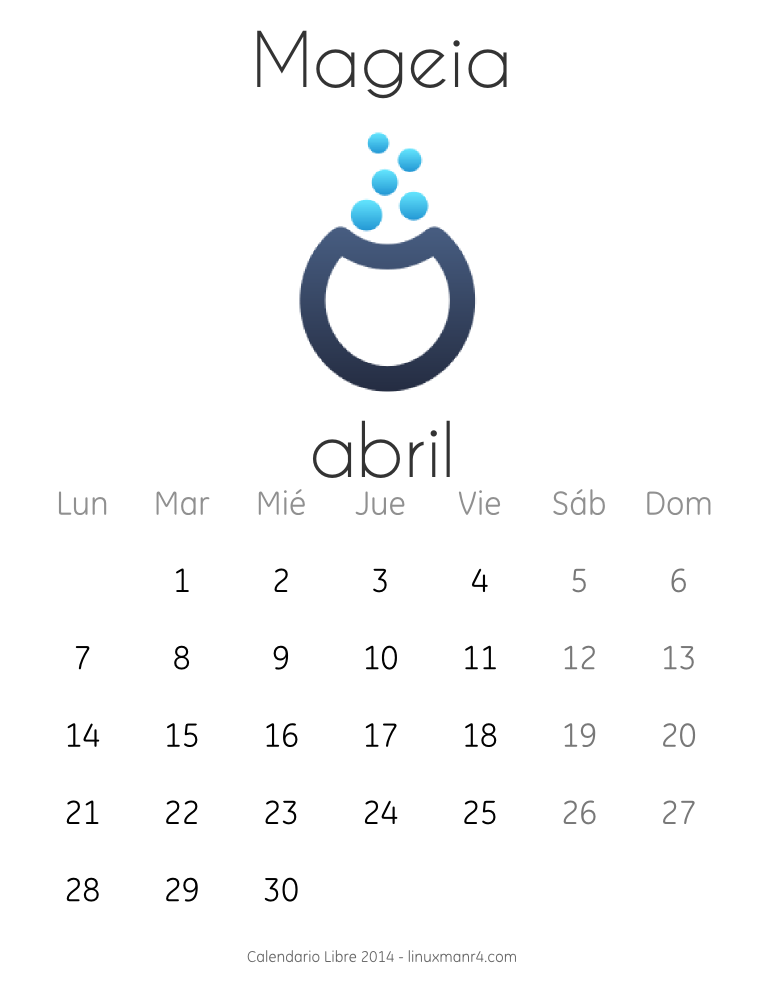 Calendario Libre 2014 Abril Mageia