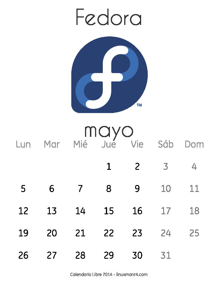 Calendario Libre 2014 Mayo Fedora