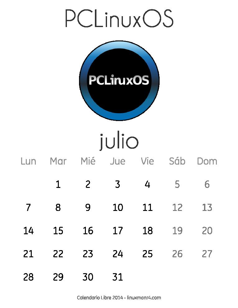 Calendario Libre 2014 julio PCLinuxOS