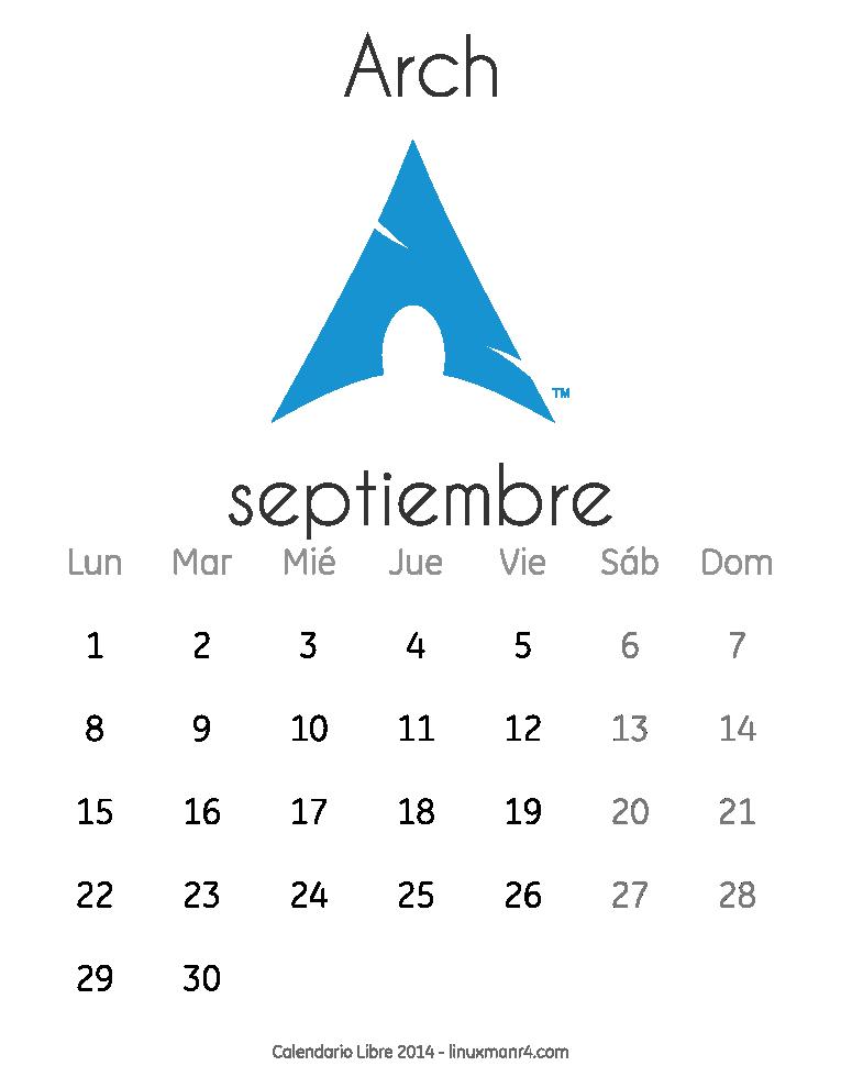 Calendario Libre 2014 septiembre Arch