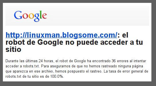 El robot de google no puede acceder a mi sitio