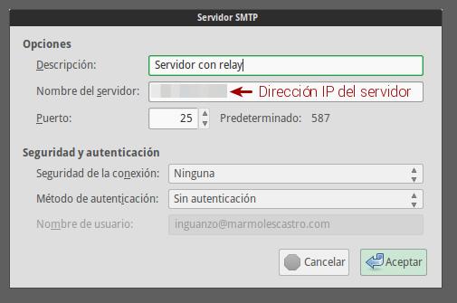 Servidor SMTP en Thunderbird