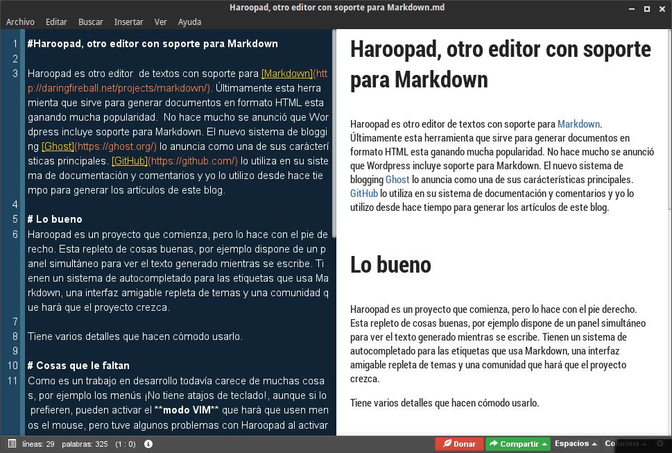 Haroopad, otro editor con soporte para Markdown