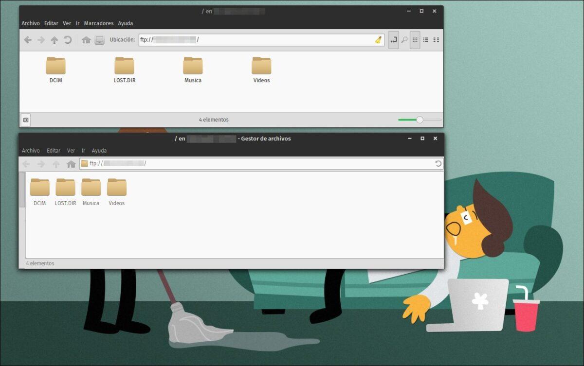Nemo y Thunar accesando el servidor FTP