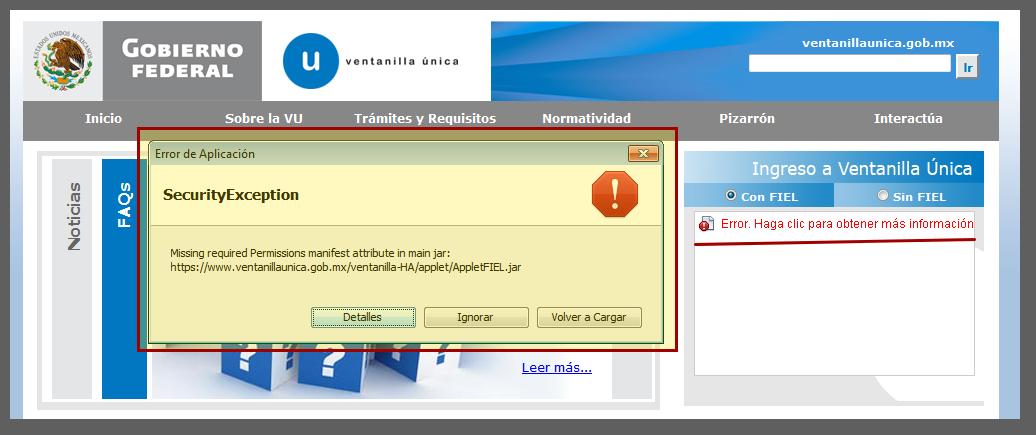 Missing required permissions manifest attribute in main jar AppletFIEL.jar