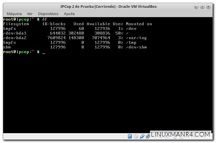 Espacio libre de las particiones con el IPCop 2 recién instalado