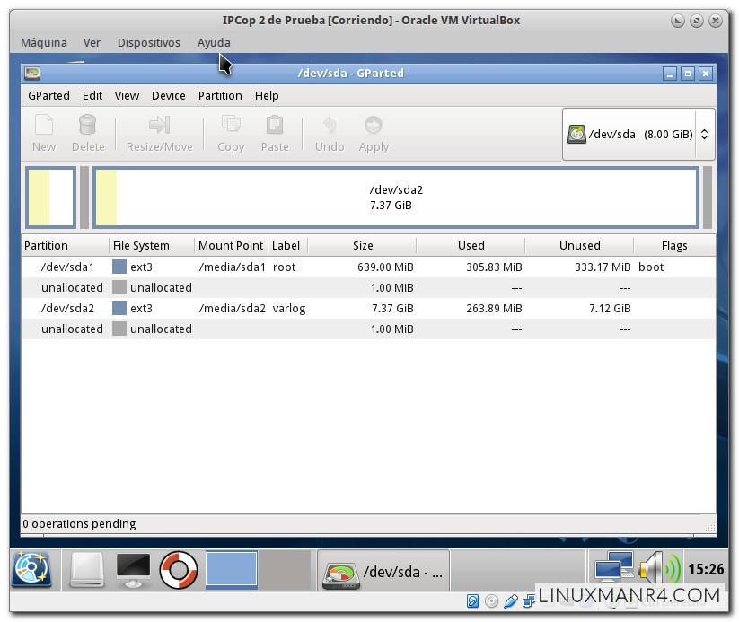 Información que muestra Gparted con IPCop 2 recién instalado
