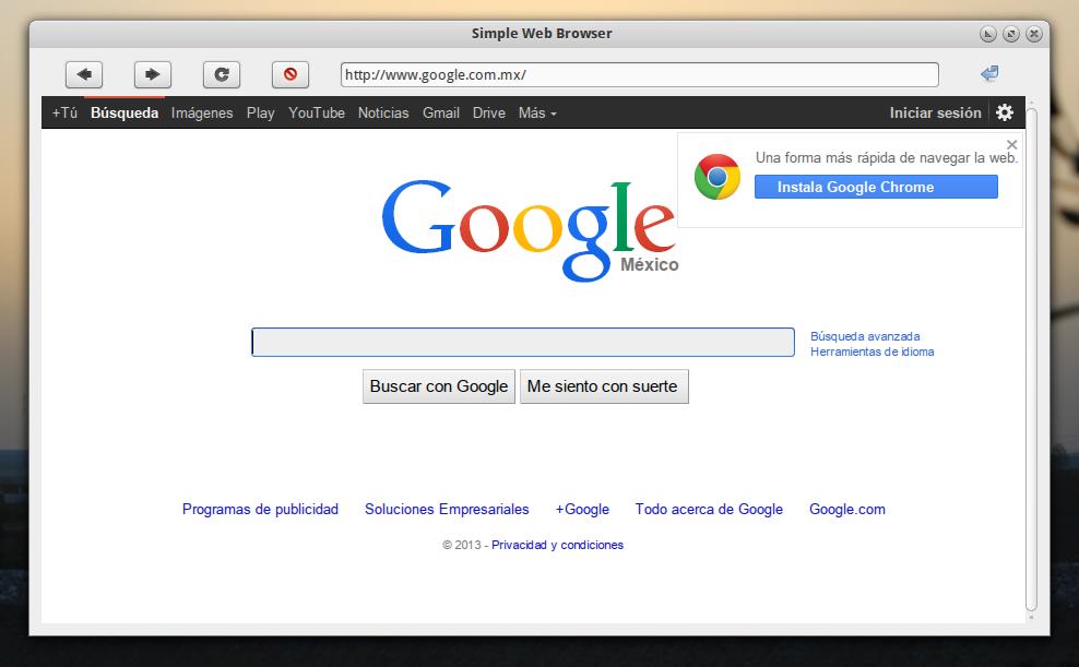 Un navegador muy minimalista