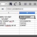 Función que regresa sólo los números de una celda en LibreOffice