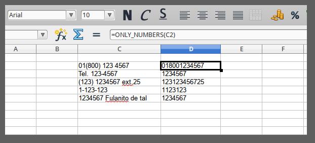 Ejemplos de la función only_numbers | función solo numeros libreoffice