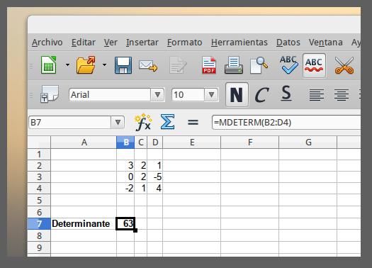 Calcular el determinante de una matriz 3x3 usando libre office