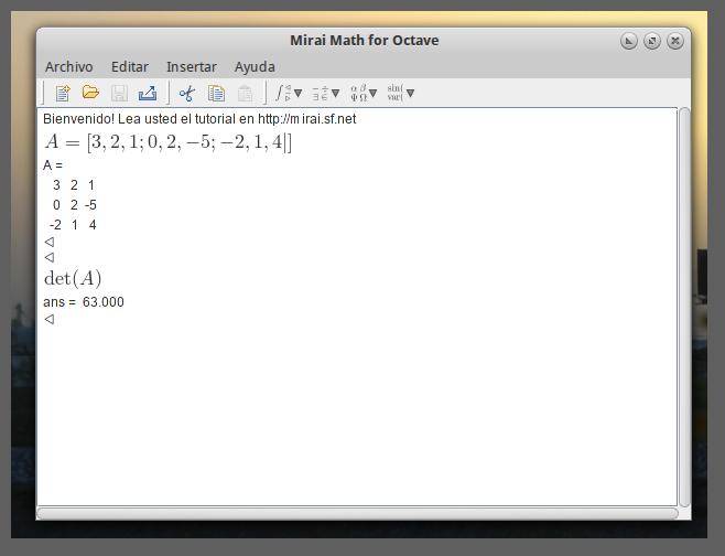 Calcular el determinante de una matriz 3x3 usando mirai math