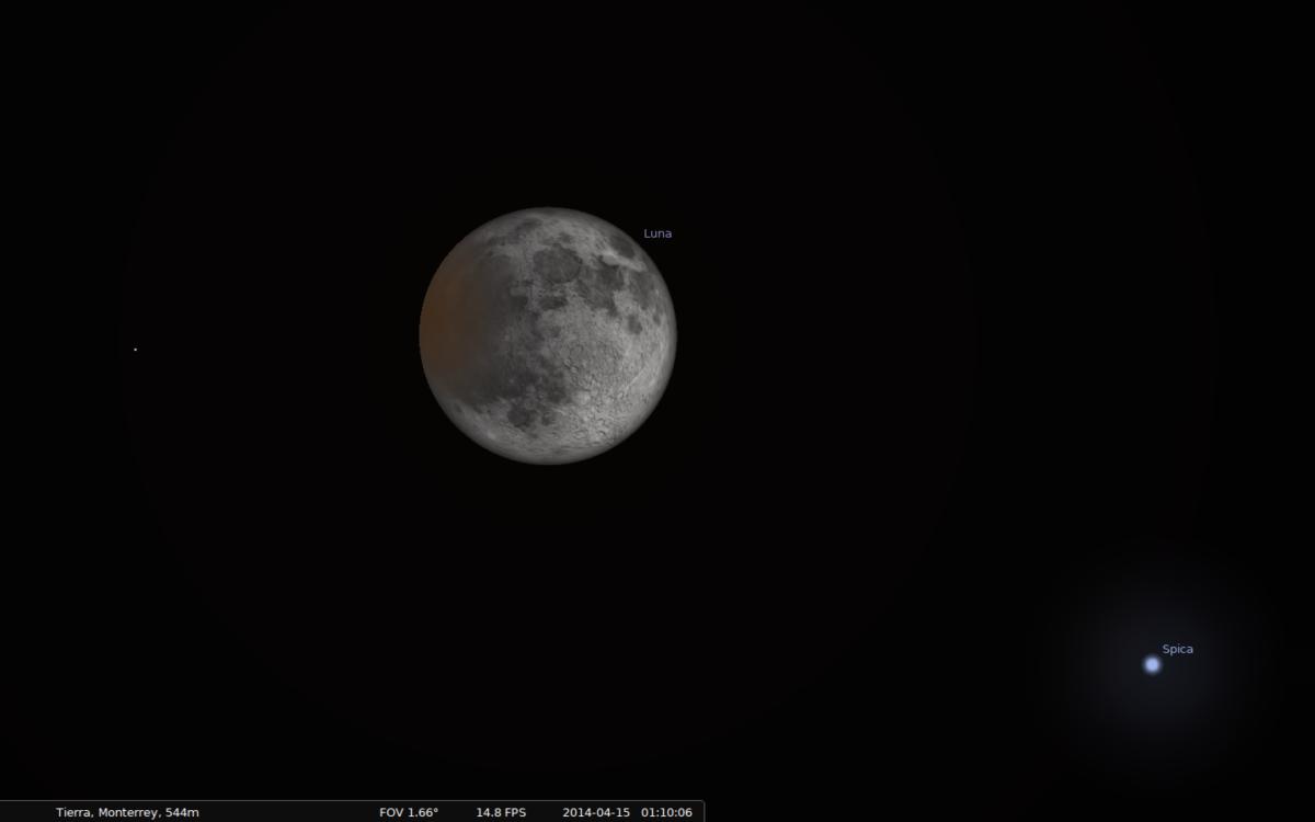 Eclipse lunar 2014 con Stellarium - Luna y Spica