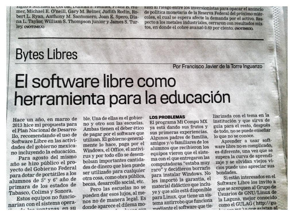 Columna Bytes Libres, El software libre como herramienta para la educación