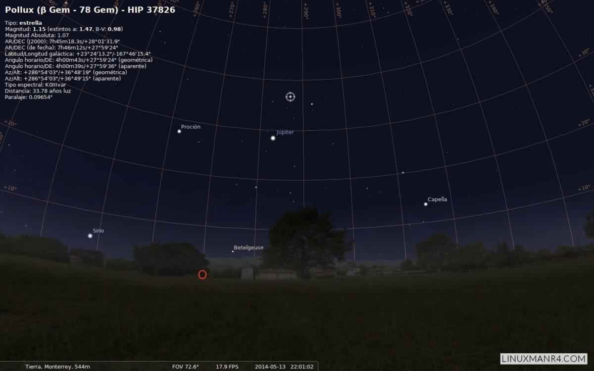 Júpiter, Pólux y Castor en el mes de mayo
