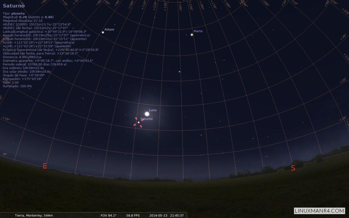 Saturno, la luna y Marte en el mes de mayo