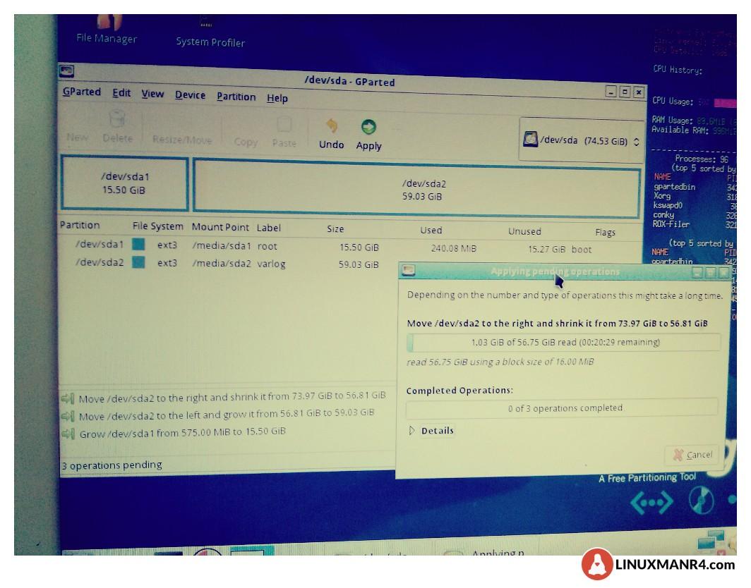 redimensionando las particiones de ipcop