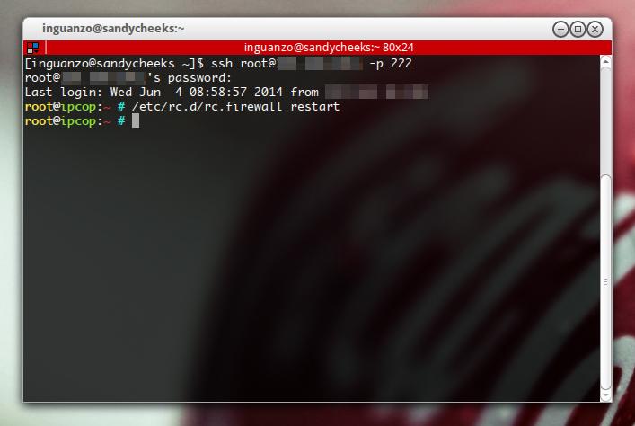 Accesando a un servidor ipcop desde ssh