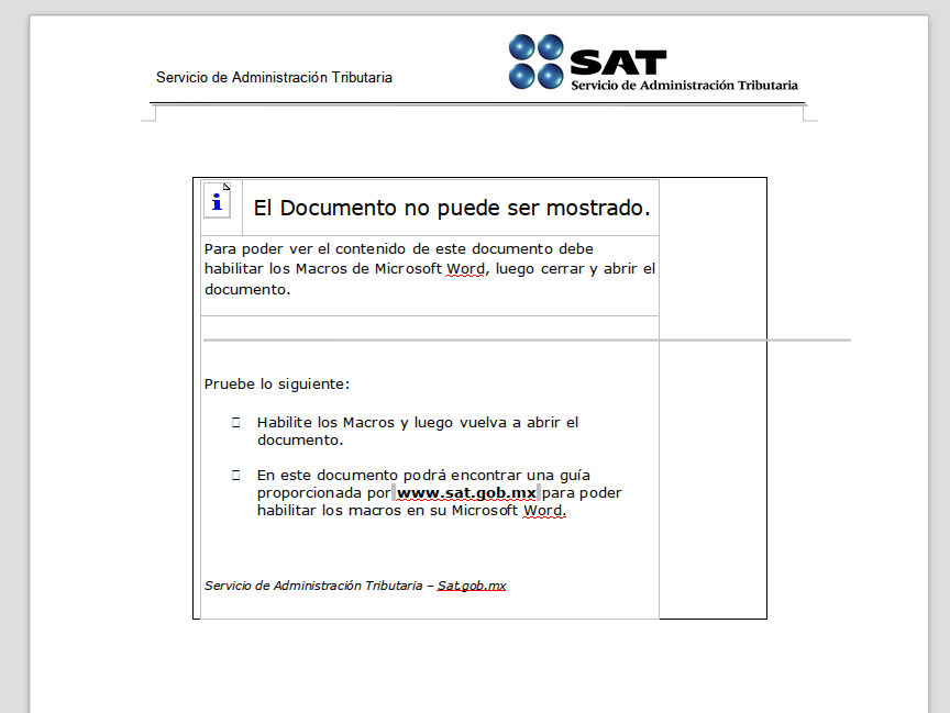 Phishing usando un aviso del SAT