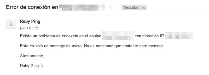 mensaje de correo rubyping