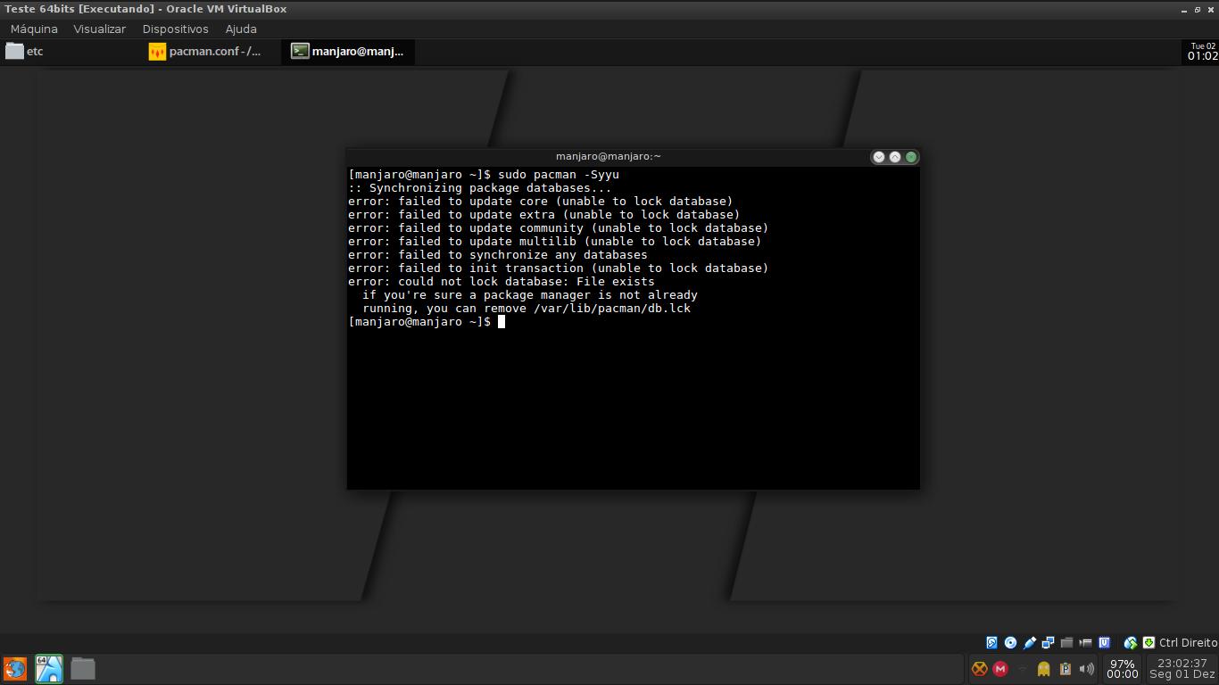 El problema de /var/lib/pacman/db.lck