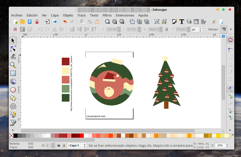 Imágenes navideñas con Inkscape