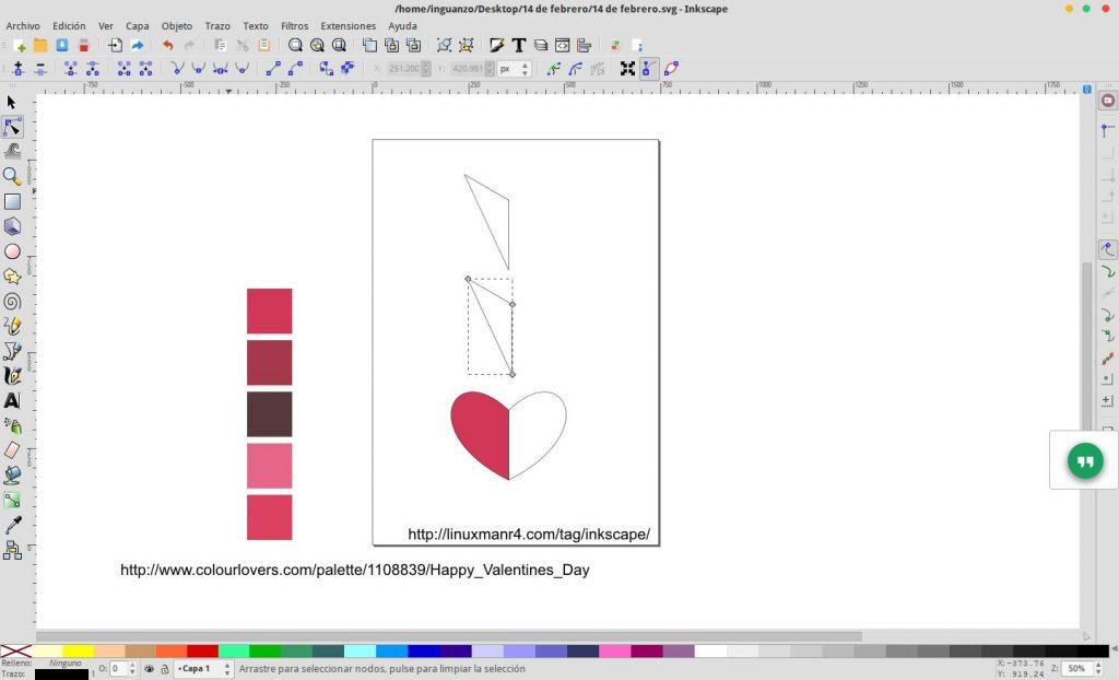 Construcción de un corazón en Inkscape
