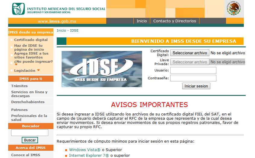 No se recibió el PKCS7 IDSE IMSS