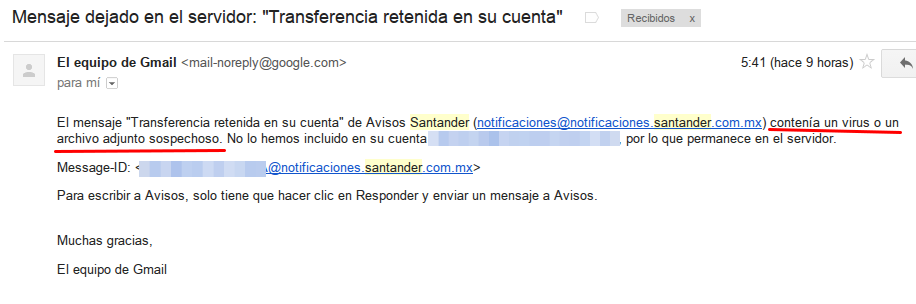 Advertencia de Gmail sobre un posible virus en el correo.