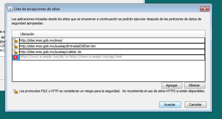 Excepciones de sitios de Java, agregar los sitios del IDSE.