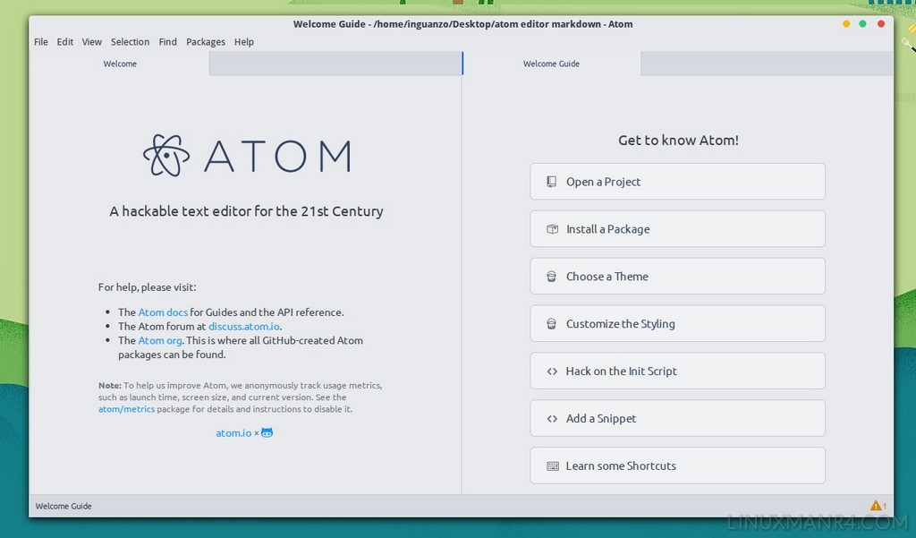 Pantalla de bienvenida a Atom