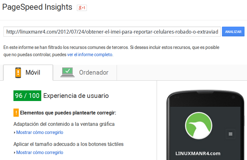 Resultados de PageSpeed Insights