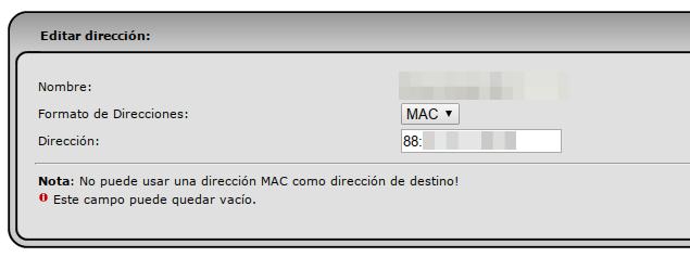 Agregando una dirección MAC de un equipo a bloquear