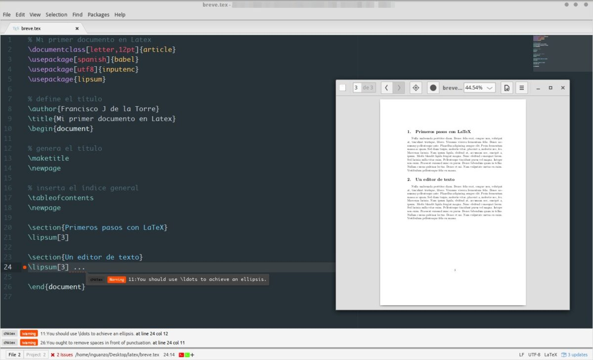 Trabajando un documento en Latex con Atom