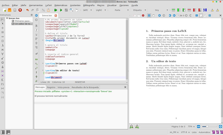 Trabajando un documento en Latex con TexStudio